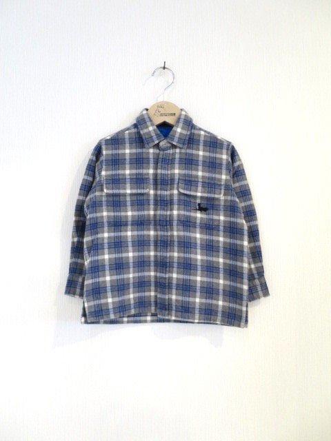 キキ手刺繍チェックシャツ (1点もの/サイズ110)