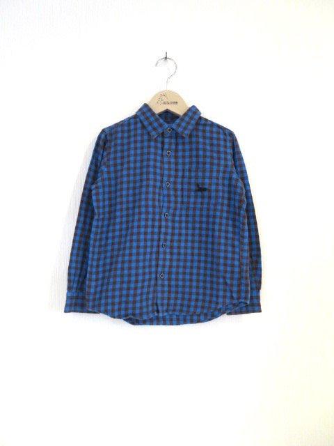 キキ手刺繍チェックシャツ (1点もの/サイズ120)