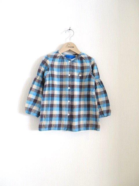 トトロ手刺繍ノーカラーシャツ (1点もの/サイズ100)