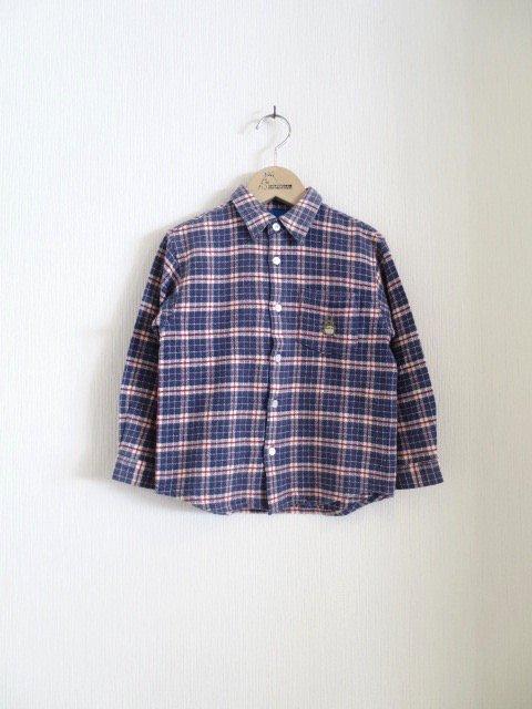 トトロ手刺繍チェックシャツ (1点もの/サイズ110)