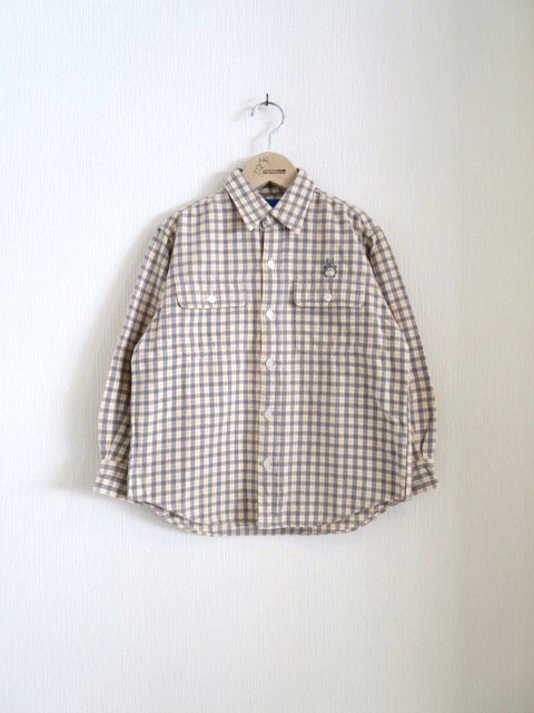 トトロ手刺繍チェックシャツ (1点もの/サイズ140)