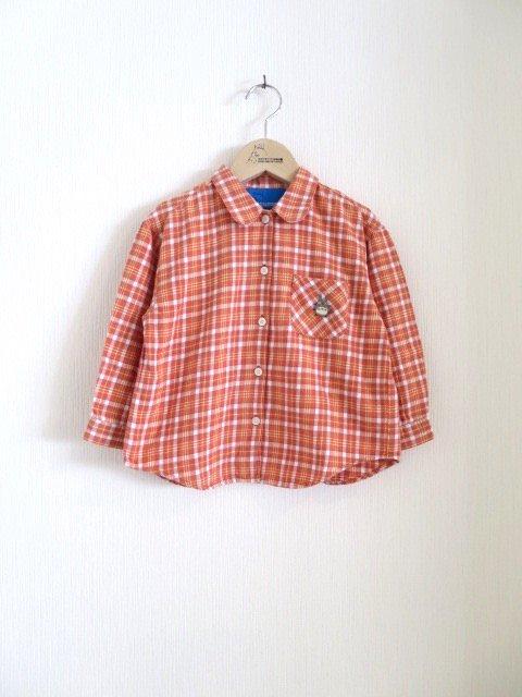 トトロ手刺繍チェックシャツ (1点もの/サイズ100)