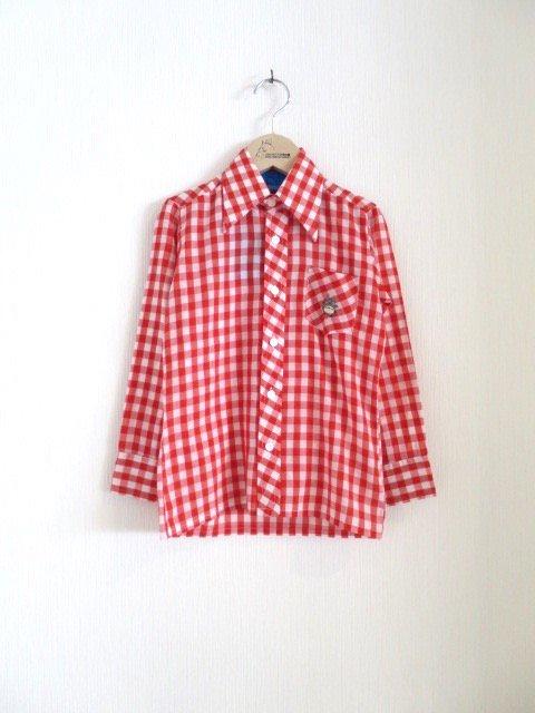 トトロ手刺繍チェックシャツ (1点もの/サイズ120)