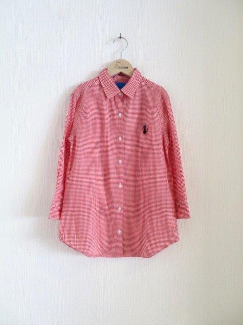 ジジ手刺繍チェックシャツ (1点もの/サイズ大人)
