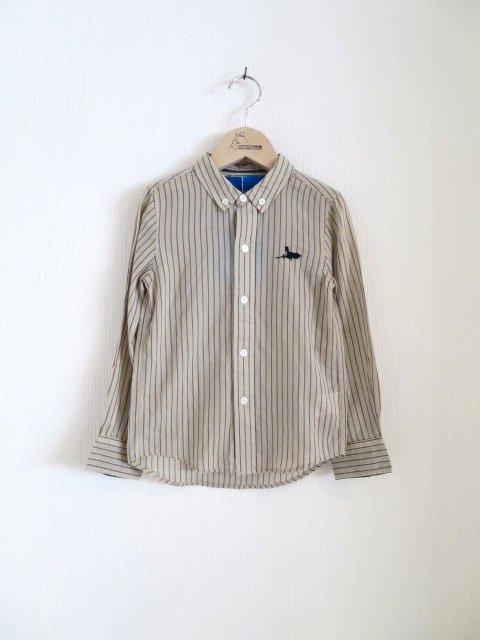 キキ手刺繍ストライプシャツ (1点もの/サイズ110)