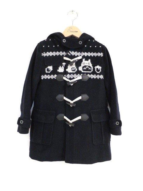 雪柄トトロ手編み縫いコート (1点もの/サイズ110)