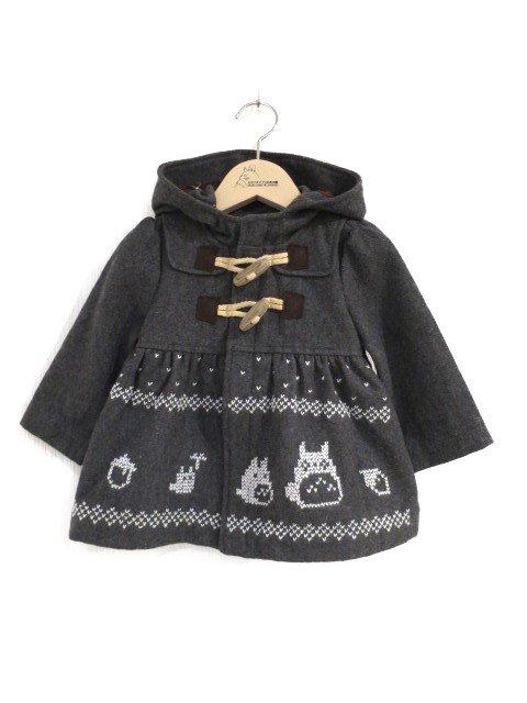 雪柄トトロ手編み縫いコート (1点もの/サイズ70)