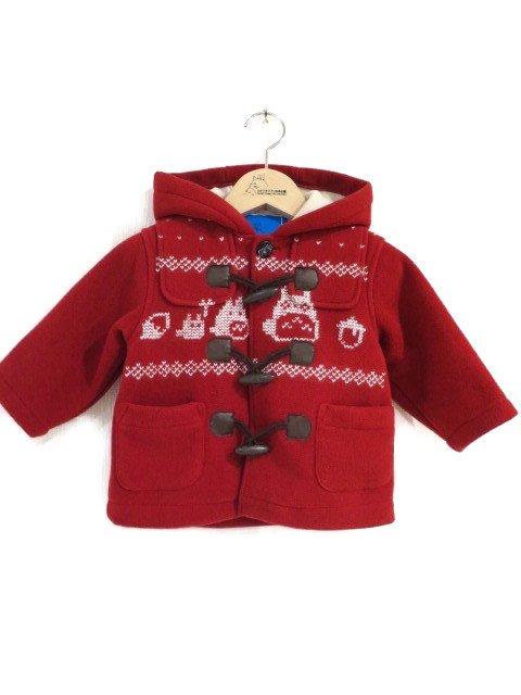 雪柄トトロ手編み縫いコート (1点もの/サイズ80)