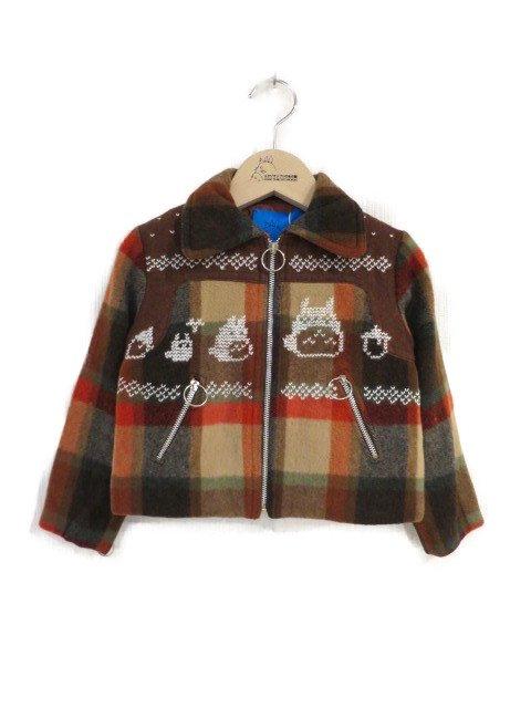 雪柄トトロ手編み縫いブルゾン (1点もの/サイズ80)