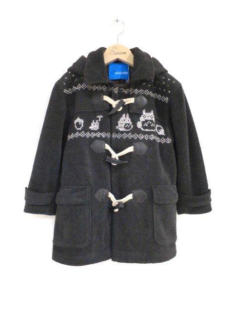 雪柄トトロ手編み縫いコート (1点もの/サイズ120)