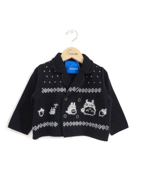 雪柄トトロ手編み縫いニットジャケット (1点もの/サイズ80)