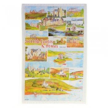 <br>Emma Ball 【EBTT17】<br>Tea Towel ティータオル 100% コットン<br>Scottish Castles