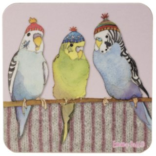 <br>Emma Ball 【EBCW070】<br>Coaster コースター<br>Budgies in Beanies 1