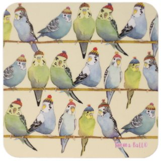 <br>Emma Ball 【EBCW071】<br>Coaster コースター<br>Budgies in Beanies 2