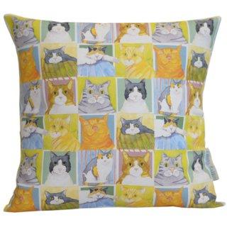 <b>オックスフォードタイム別注品></b><br>Emma Ball 【EBCC05】<br>Cushion Cover クッションカバー 100% コットン<br>British Cat Life