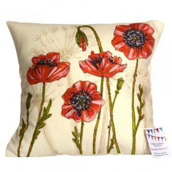 <br>Caroline Cleave 【EBCC27】<br>Cushion Cover クッションカバー<br>100% コットン<br>Poppy