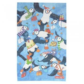 <br>Emma Ball 【EBTT54】<br>Tea Towel ティータオル 100% コットン<br>Christmas Flying Puffins