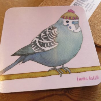 <br>Emma Ball 【EBCW079】<br>Coaster コースター<br>Budgies in Beanies