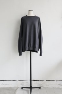 unfil COTTON FRENCH TERRY CREW NECK PULLOVER CHARCOAL