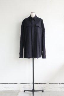 AUBETT CRAPE CLOTH FLAP POCKET OVERSIZED SHIRTS  DARK NAVY