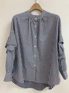 Lallia Mu 袖フリルストライプシャツ