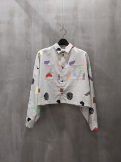 FORM OF INTEREST. Konfetti grey cropped Shirt
