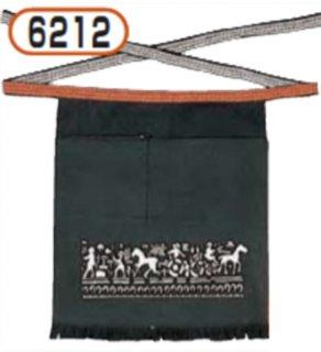 6212腰下前掛け(緑)柄入チャック付ポケット