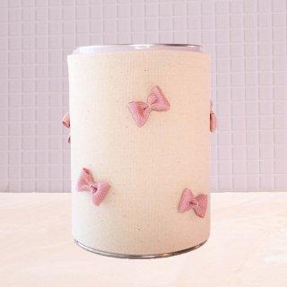 粉ミルク缶カバー「ミルカ」 : 生成り地×ピンクりぼん