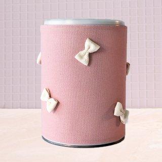 粉ミルク缶カバー「ミルカ」 : ピンク地×生成りりぼん