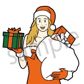 サンタクロースのコスプレをする女性 イラスト(サンタ、バーゲン、コスプレ)
