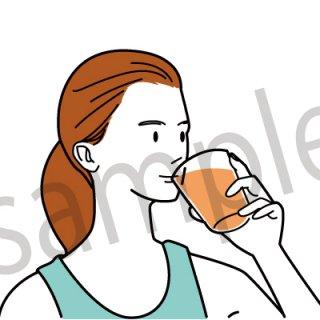 ジュースを飲む人 イラスト(ヘルスケア、健康、ダイエット)