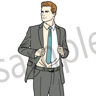 スーツを触るビジネスマン イラスト(ネクタイ、スーツ、ビジネス、サラリーマン,アメコミ、外国人)