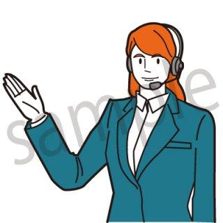 コールセンターオペレーター イラスト(女性、ビジネス、サポートセンター)