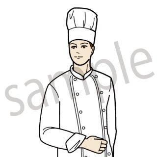 コックさん イラスト(ビジネスシーン、仕事、飲食、フード、キッチン、フランス料理、外食)