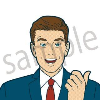 とびきりの笑顔 ビジネスマン イラスト(ビジネスシーン、仕事、サラリーマン、ビジネスマン