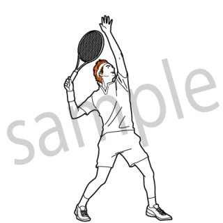 テニスプレイヤー  イラスト(スポーツ、ボール、サーブ、試合)