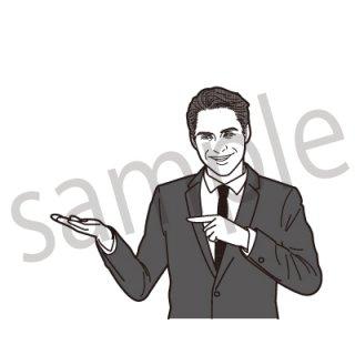 笑顔で指を刺すビジネスマン イラスト(ビジネス、サラリーマン、社長、社員、会社員、スーツ)