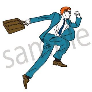 ダッシュするサラリーマン イラスト(飛ぶ、ジャンプ、走る、ビジネスマン、サラリーマン、スーツ)