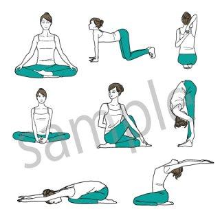 ヨガ 8ポーズセット (ヨガ、体操、ストレッチ、健康、美容)
