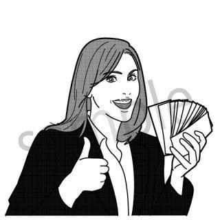 札束を持つ女性 イラスト(お金,ビジネス,リアル)