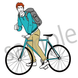 自転車にまたがる男性 イラスト(サイクリング、ロードバイク)