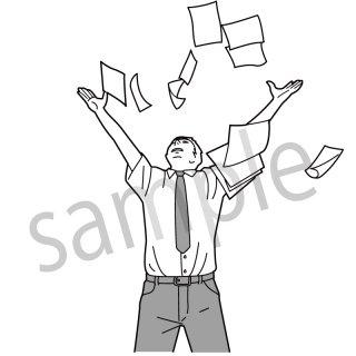 書類を投げるビジネスマン (サラリーマン,ビジネスシーン,)