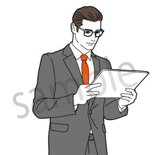 書類を見るビジネスマン イラスト (サラリーマン,ビジネスシーン,)