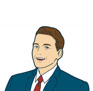 笑顔 ビジネスマン(スーツ,アメコミ風,ビジネスシーン,サラリーマン,ネクタイ,スマイル,笑顔)