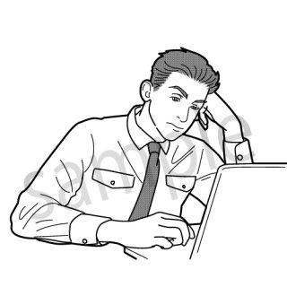 疲れているサラリーマン(ビジネスマン、眠そう、居眠り、疲労、パソコン、疲れ)