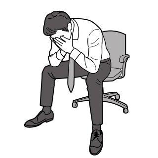 落ち込むサラリーマン(ネガティブ,落ち込む,失敗,ビジネスシーン,サラリーマン,スーツ)