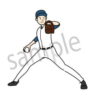 野球 ピッチャー イラスト(投手、投球,甲子園、スポーツ)