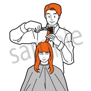 美容室 イラスト(美容院,美容室,ヘアカット、美容師)