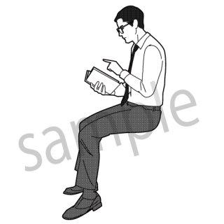 本を読む人(男性、サラリーマン、ビジネスマン、本、読書、スーツ)