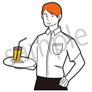 ウエイター イラスト(男性、レストラン、店員、飲食)